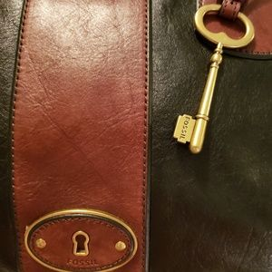FOSSIL Bags - FOSSIL VINTAGE LEATHER SATCHEL w/LEATHER WALLET